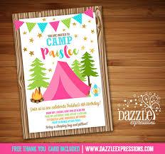 printable pink and gold glamping birthday invitation camping