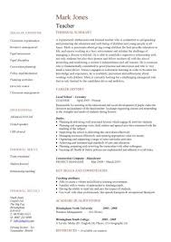 resume template for teachers cv sle pertamini co
