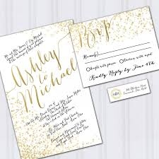 wedding invitations gold gold foil look wedding invitations confetti invites metallic