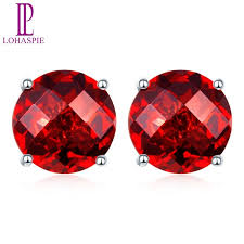 garnet stud earrings lohaspie solid 14k white gold 4mm 5mm 6mm checkerboard cutting