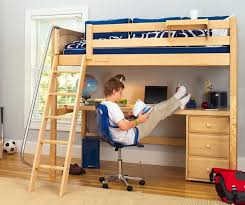 kids loft bed with desk knockout high loft bed with desk and 1 drawer in natural by maxtrix