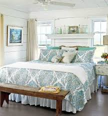 Floating Shelf Above Bed Headboard In This Quaint Beach Cottage - Beach cottage bedrooms