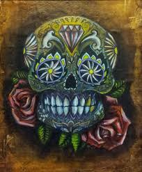 gold sugar skull and rose tattoo design by l e f t on deviantart