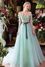 mint organza off shoulder short sleeves handmade flower long prom