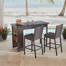 Swivel Wicker Patio Chairs by Bar Height Dining Sets Outdoor Bar Furniture The Home Depot