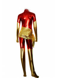 Dark Phoenix Halloween Costume Red Phoenix Shiny Metallic Superhero Costume Cosplay Halloween Costume