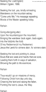 Seeking Song Hymn And Gospel Song Lyrics For Seeking The Lost Ogden By William