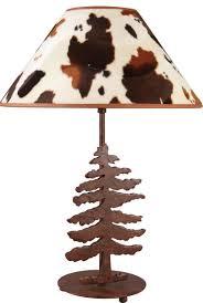 lampe de chevet montagne peau de vache lampe motif sapin réf 09110187