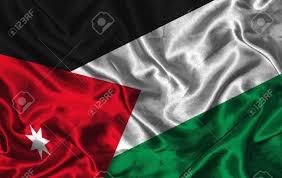 Flag Jordan Waving Colorful Jordan Flag On A Silk Background Stock Photo