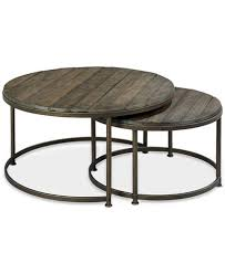 Link Wood Set Of 2 Round Nesting Coffee Tables Furniture Macy S