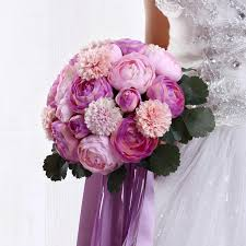 purple and pink bridal hand flower silk rese light purple peony