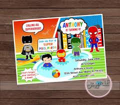 Superhero Invitation Card Superhero Pool Party Invitation Superhero Pool Birthday