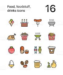colored food foodstuff drinks icons for web and mobile design pack