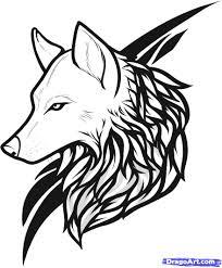 black tribal outline wolf design