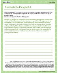 Paragraph Writing Worksheets Punctuate The Paragraph 2 Free Punctuation Worksheet