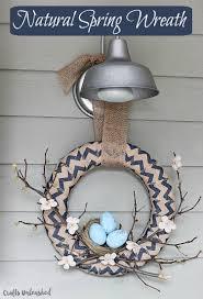 spring wreath diy tutorial with bird nest accent