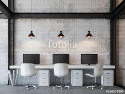 loft style office 3d rendering image there are white brick wall