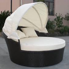 Black Wicker Patio Furniture - dominica canopy bed in black wicker ivory cushions