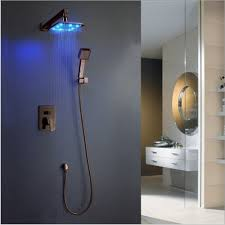 rubbed bronze shower system with shower and shower