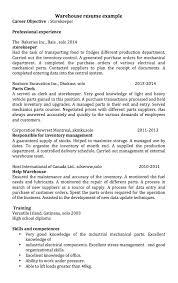 Supply Resume Examples by Example Of Storekeeper Resume Resumedoc