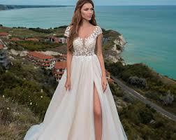 slit wedding dress etsy