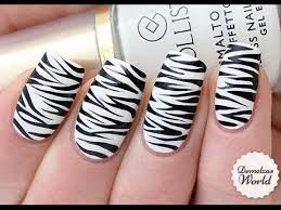 Zebra Pattern Nail Art | zebra print nail art tutorial youtube