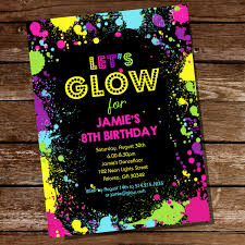 glow party neon glow party theme invitation instantly downloadable and