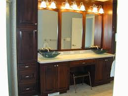 brown polished wooden bathroom double vanity cabinet with white