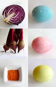dyeing easter eggs the natural way chart with the list of colors
