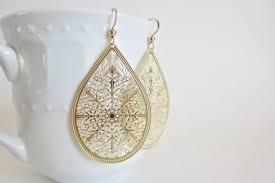 trendy gold earrings gold filigree earrings gold laser cut earrings matte gold