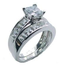 wedding ring sets for his hers sterling silver princess cut cz wedding ring set edwin