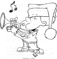 vector of a cartoon boy playing christmas music on a trumpet