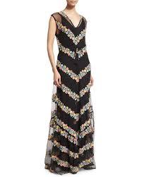 chevron maxi dress calypso st barth sakile floral chevron maxi dress black neiman