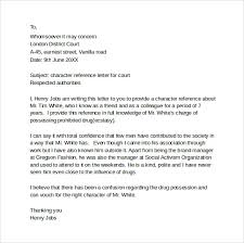 sample character letter for court templates 8 download free