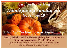 thanksgiving sunday soup salad and pie pot luck lunch unity