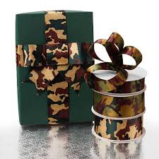 camo christmas wrapping paper camouflage print satin ribbons