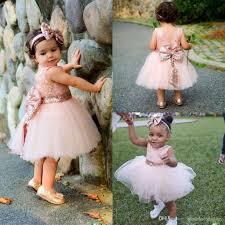 baby infant toddler christening dresses rose gold sequins knee