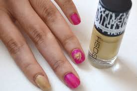 mishmreow shattered heart nail art tutorial with gold gosh