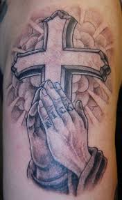 fantastic praying hands and christian cross tattoo design