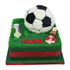 football cake football badge on fresh cake