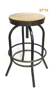 Industrial Metal Bar Stool Metal Industrial Era Bar Stools With Ash Wood Adjustable Seat