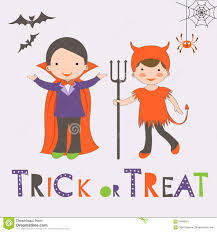 trick or treat halloween card with two kids stock vector image