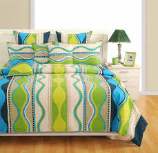 home decor gifts send home decor india swayam blue and green colour stripes bed sheet with pillow covers