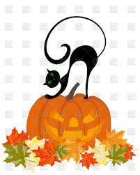 happy halloween theme greeting card pumpkin and black cat vector