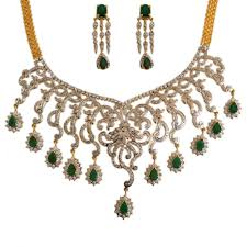 diamond style necklace images Chick style traditional bridal emerald necklace gleam jewels jpg