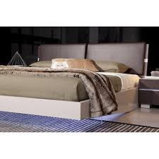 contemporary floating bed with led lights and lacquered frame
