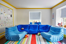 Playroom With Ligne Roset Togo Fireside Chairs Contemporary - Magnetic board for kids room