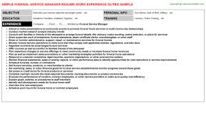 Funeral Director Resume Marine Service Manager Resumes Samples