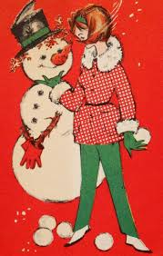 25 best women u0026 young ladies with snowmen vintage christmas cards