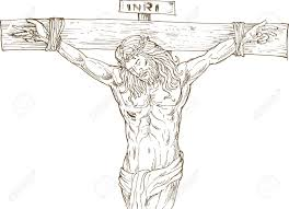 hand drawn illustration of jesus christ hanging on the cross